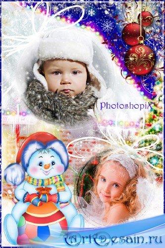 Фоторамка для зимних фотографий – Он не мал и не велик, снежно белый снегов ...