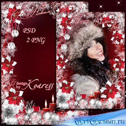 Праздничная новогодняя фоторамка - Красные цветы, серебристый снег