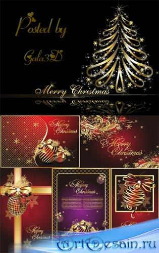 Рождественский золотой новогодний вектор