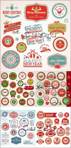 Декоративные надписи для рождества и нового года в векторе