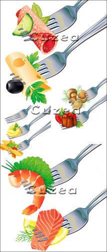 Морепродукты, сыр, колбаса, грибы на вилке в векторе