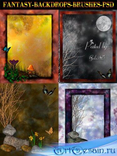 Коллекция сказочных фонов и рамок