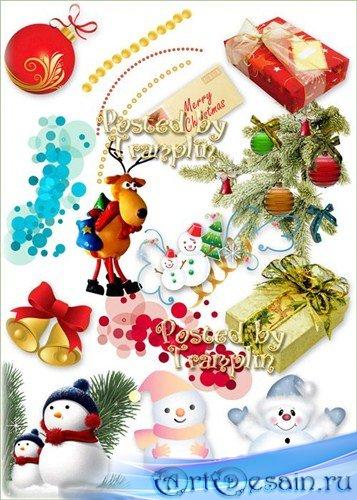 Новогодний клипарт на прозрачном фоне – Снеговики, игрушки, хвоя, мишура, п ...