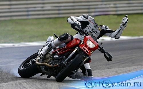 Шаблон для фотомонтажа - парень на мотоцикле
