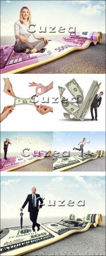 Бизнесс коллажи люди и деньги - Stock photo