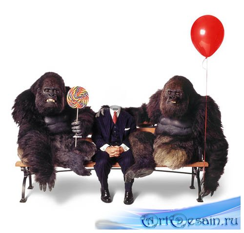 Шаблон для фотошопа - прогулка с гориллами