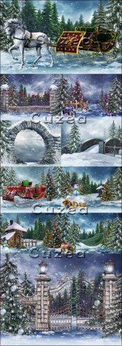 Рождественские снежные фоны - Stock photo