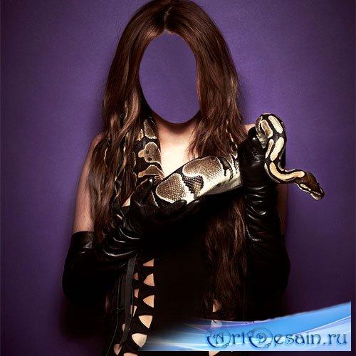 Шаблон psd женский - девушка и змея