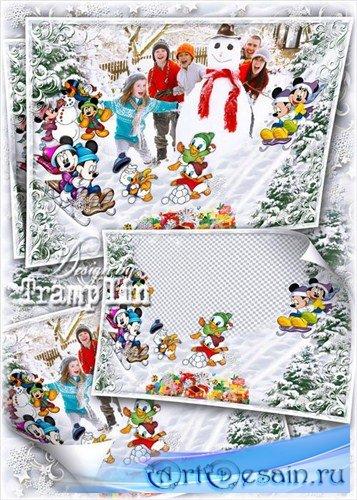 Зимний исходник для детских и семейных фото – Лепим снеговика с героями Дис ...
