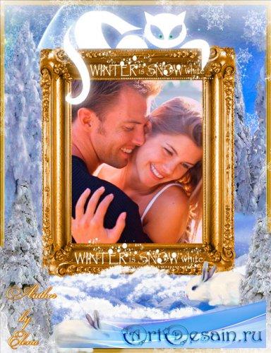 Рамка для фотошопа - Волшебная ночь в зимнем лесу