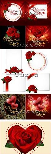 Праздничные карточки с розами ко дню святого Валентина в векторе