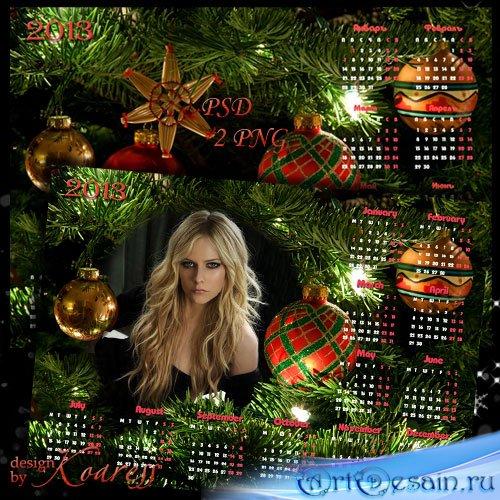 Календарь на 2013 год для фотошопа с рамкой для фото - Новогодняя елка