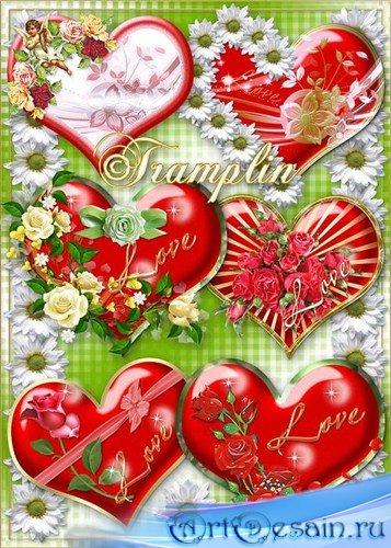 Красивые Сердечки-Валентинки с цветами к дню Валентина