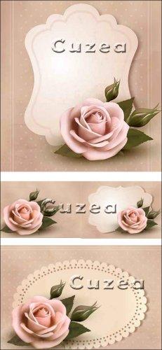 Поздравительная ретро карточка с розовой розой в векторе