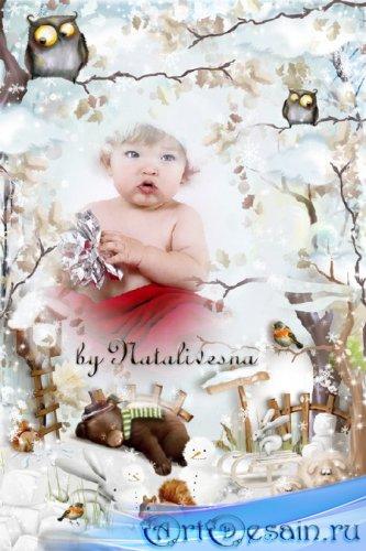 Детская рамочка -  Сладко спит Мишутка, видя сладкий сон