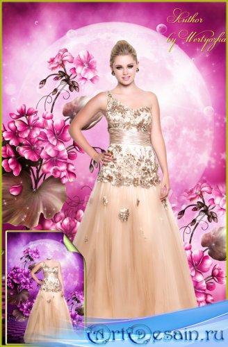Женский шаблон для фотошопа - Красивое вечернее платье, девушка в длинном п ...