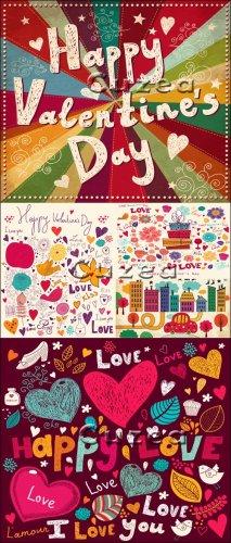 Векторный клипарт надписей и сердец ко дню Валентина