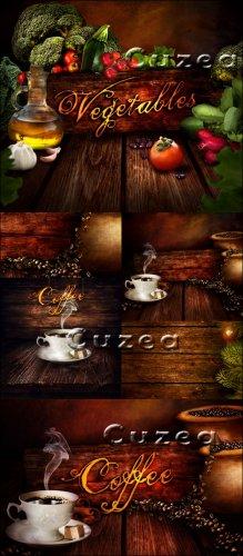 Винтажные деревянные фоны с овощами и кофе - Stock photo