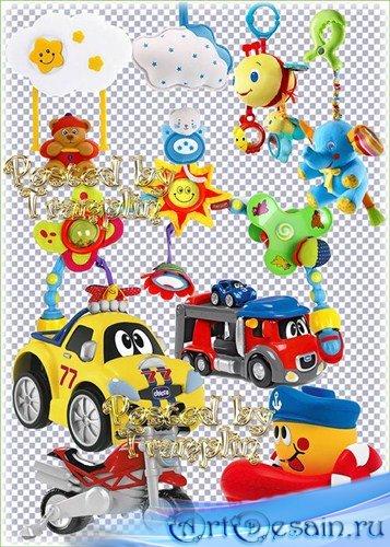 Детский клипарт на прозрачном фоне – Игрушки, погремушки, машинки, подвески