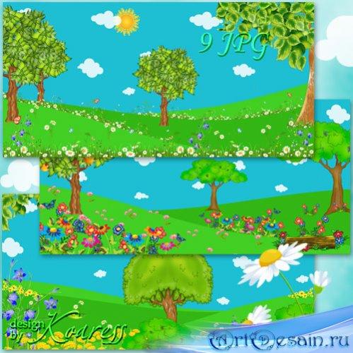 Летние детские фоны - Солнце и облака, кусты и деревья, яркие полевые цветы ...