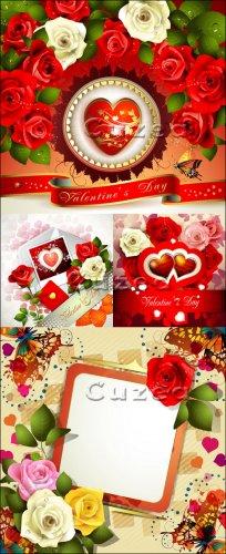 Розы, ленты, рамки и сердца ко дню Валентина в векторе, часть 2