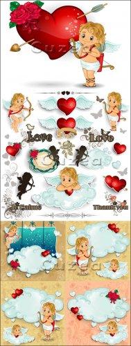 Ангелочки и сердца ко дню Валентина в векторе