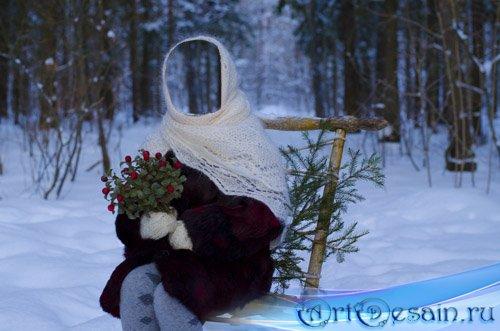 Детский шаблон - девочка зимой