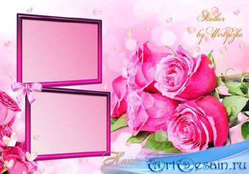 Розовые розы, букет роз, цветы - Рамка для фотошопа ко дню святого валентин ...
