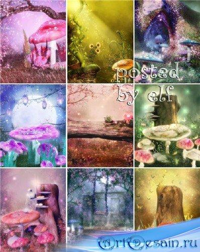 Подборка детских фонов для создания сказочных коллажей