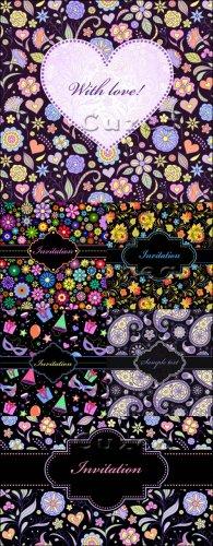Пригласительные цветочные карточки в векторе ко дню рождения, свадьбе и дню ...