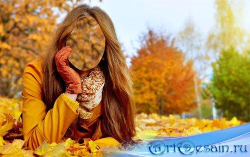 Шаблон psd женский - осенняя фотосессия