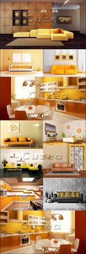 Modern design of the apartment with prevalence of yellow color - Stock phot ...