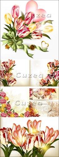 Сверкающие фоны с тюльпанами и сердцем в векторе/ Sparkling backgrounds wit ...