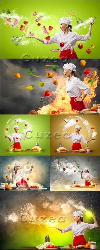 Infernal kitchen - the creative cook in kitchen - Stock photo