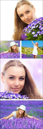 Милая девушка с сиреневым букетом цветов | The lovely girl with a lilac bunch of flowers - Stock photo