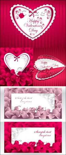 Яркие сердца и лепестки роз в векторе/ Bright hearts and petals of roses in ...