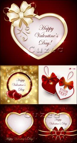 Сердца и рамки с лентами ко дню Валентина в векторе| Hearts and a framework ...