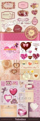 Праздничные элементы для скрап набора ко дню Валентина в векторе| Festive v ...