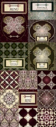 Винтажные фоны для пригласительных и для меню в векторе/ Vintage background ...