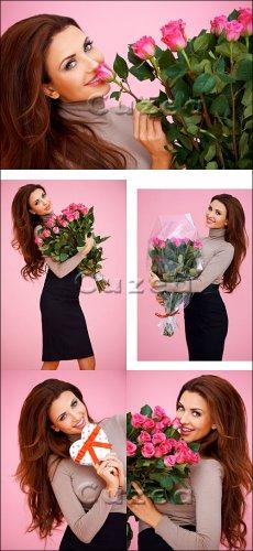 Девушка с цветами/ Girl with beautiful roses - Stock photo
