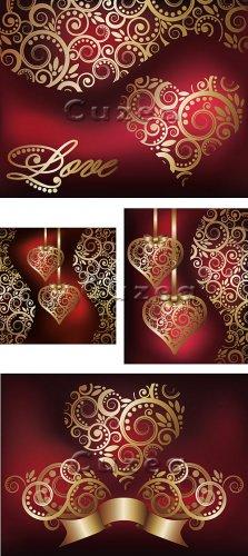 Винтажные золотые сердца и орнамент в векторе/ Vintage hearts of gold and o ...