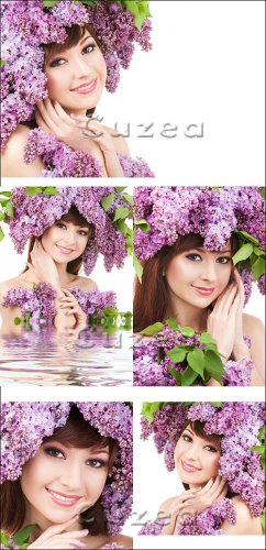 Девушка с венком из сирени / The girl with a wreath from a lilac - Stock photo
