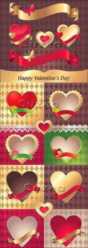 Декоративные сердечные лейблы и лента| Collection of Valentine decorative h ...