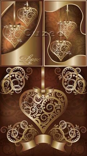 Декоративное золотое сердце в векторе| Collection of Valentine decorative g ...