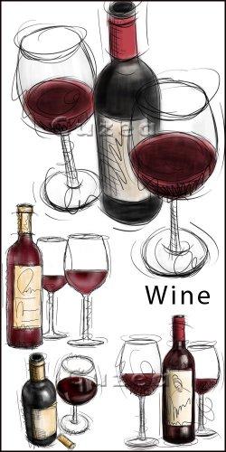 Бокалы и красное вино / Glasses with wine - drawn clipart