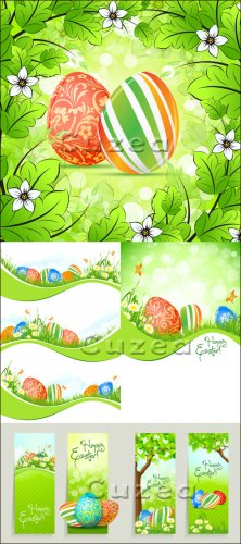 Клипарт к пасхе с зелёными элементами/ Vector clipart by Easter in green to ...
