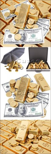 Золото, монеты и доллары/ Gold ingots and paper banknotes - Stock photo