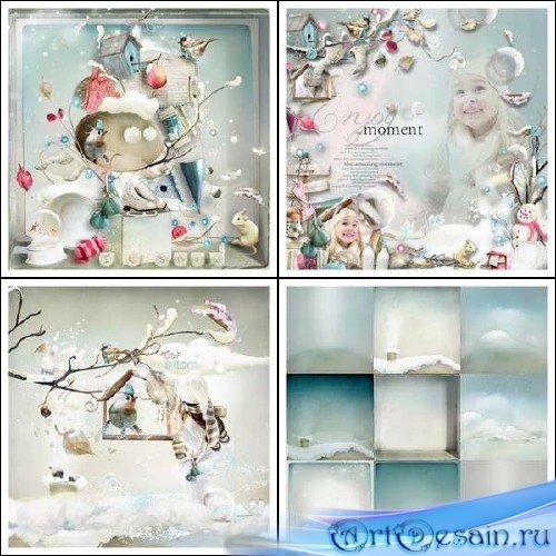Зимний скрап-набор - Танцующие снежинки