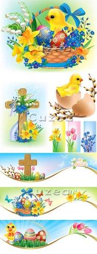 Пасхальный клипарт с цыплёнком в векторе/ Easter clipart  with a chicken in ...
