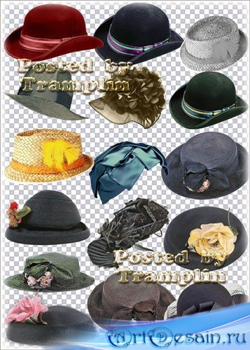 Шляпы, головные уборы на прозрачном фоне